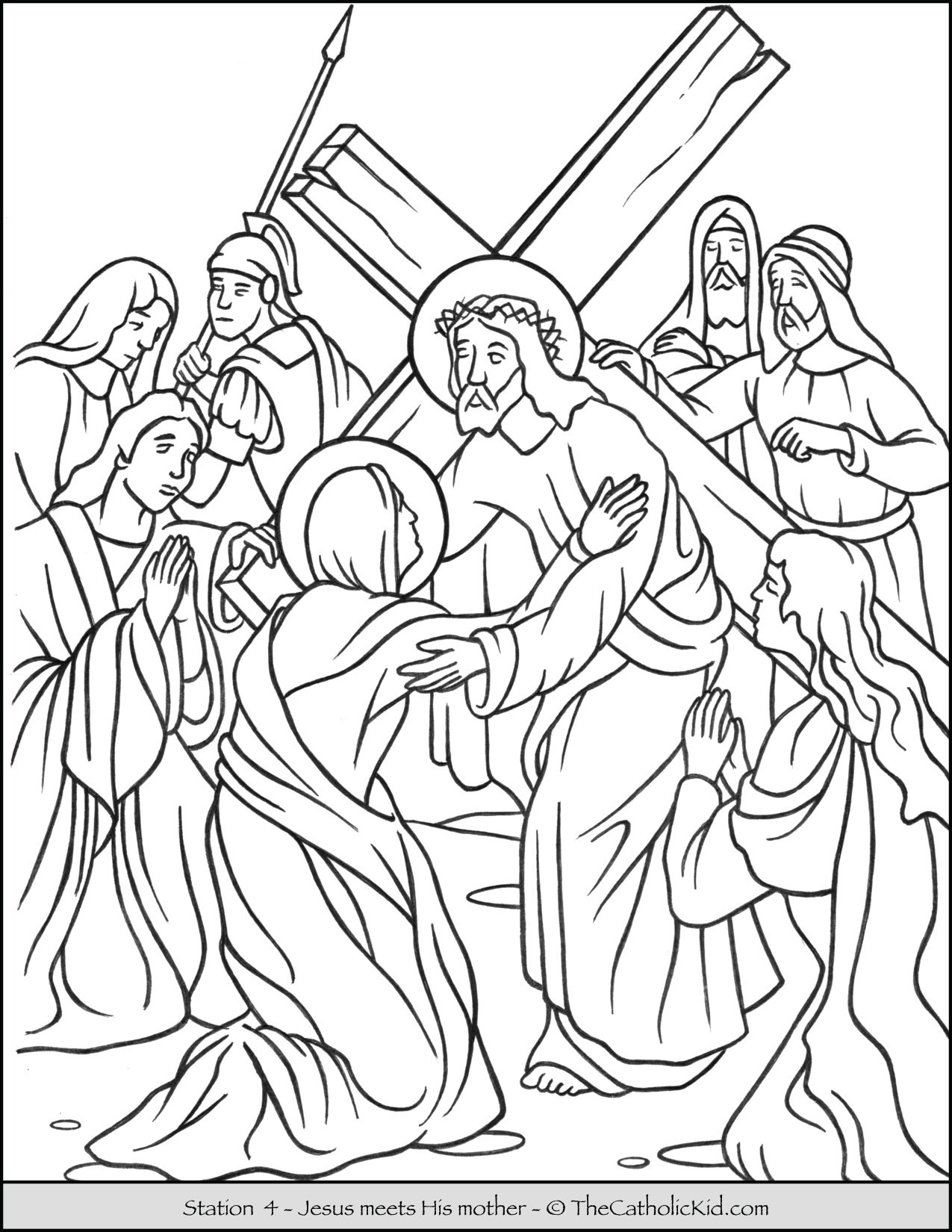 Stations of the Cross Catholic Coloring Pages for Kids 4