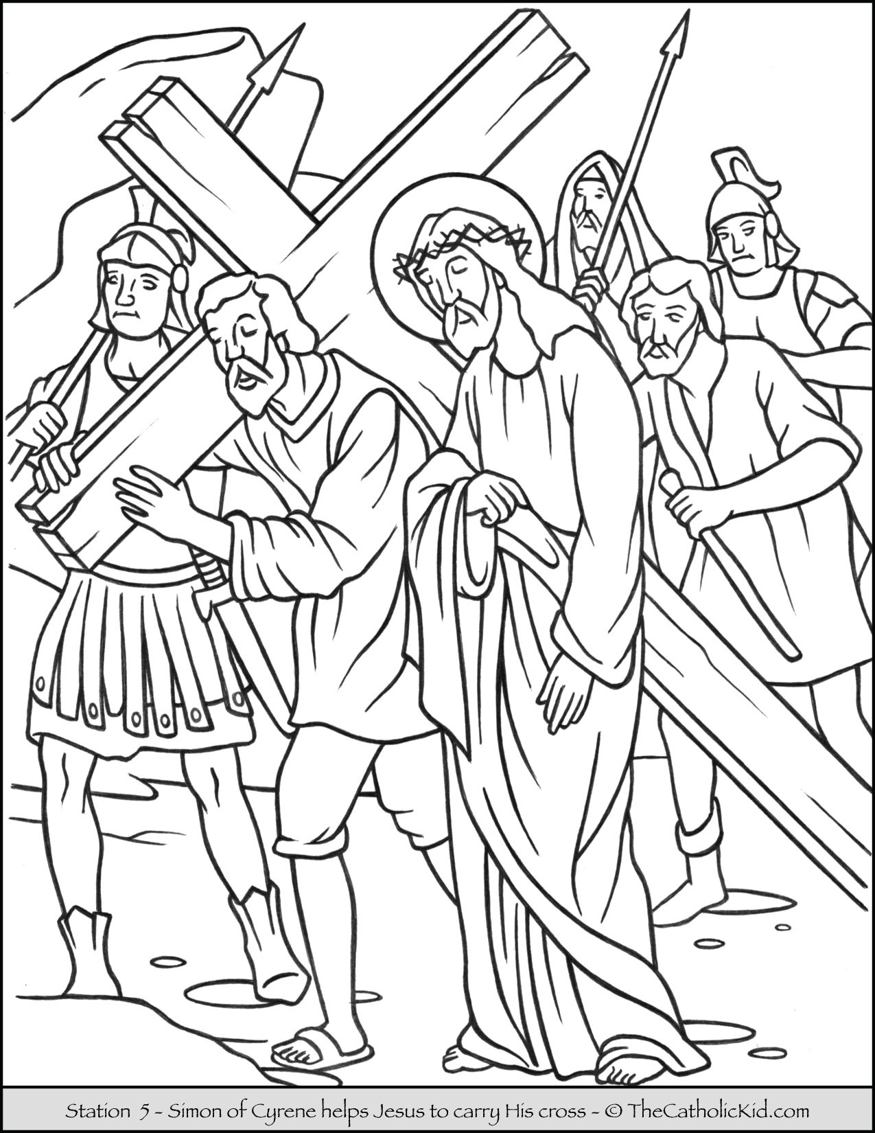 Stations of the Cross Catholic Coloring Pages for Kids 5