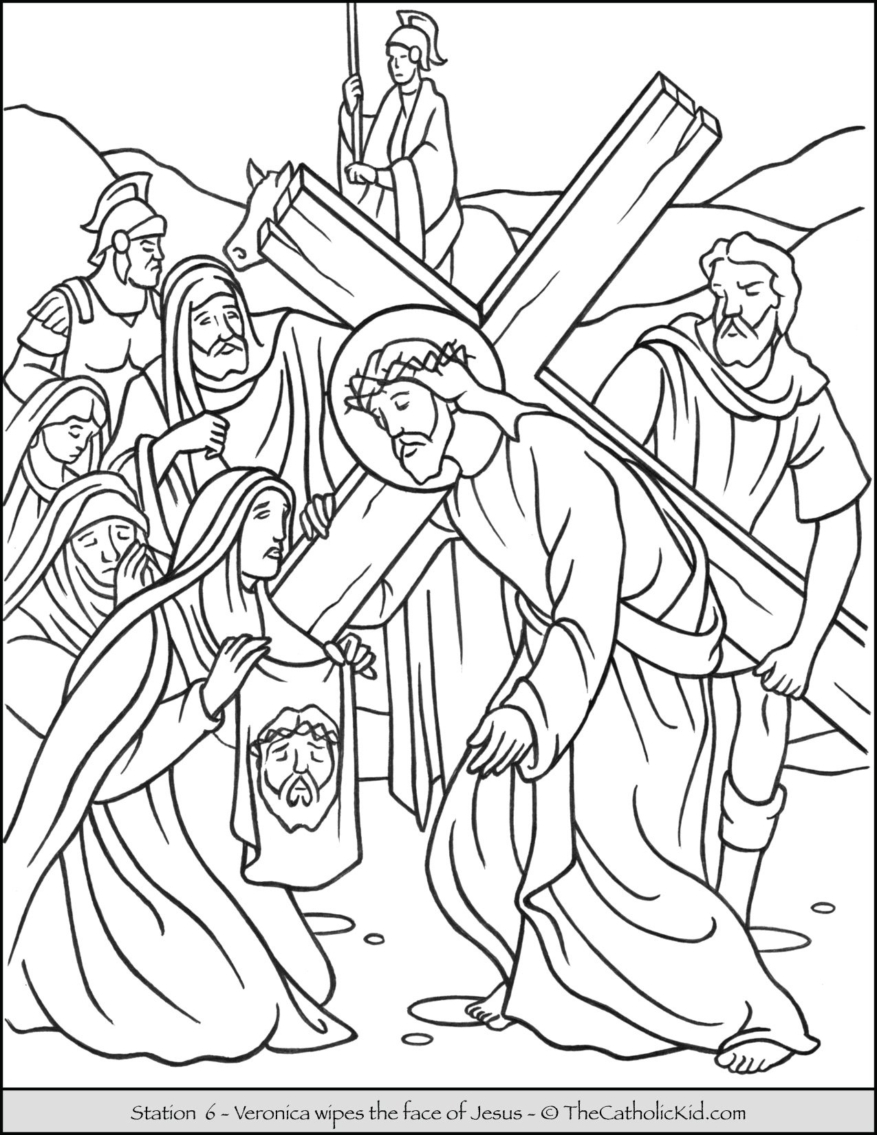 Stations of the Cross Catholic Coloring Pages for Kids 6