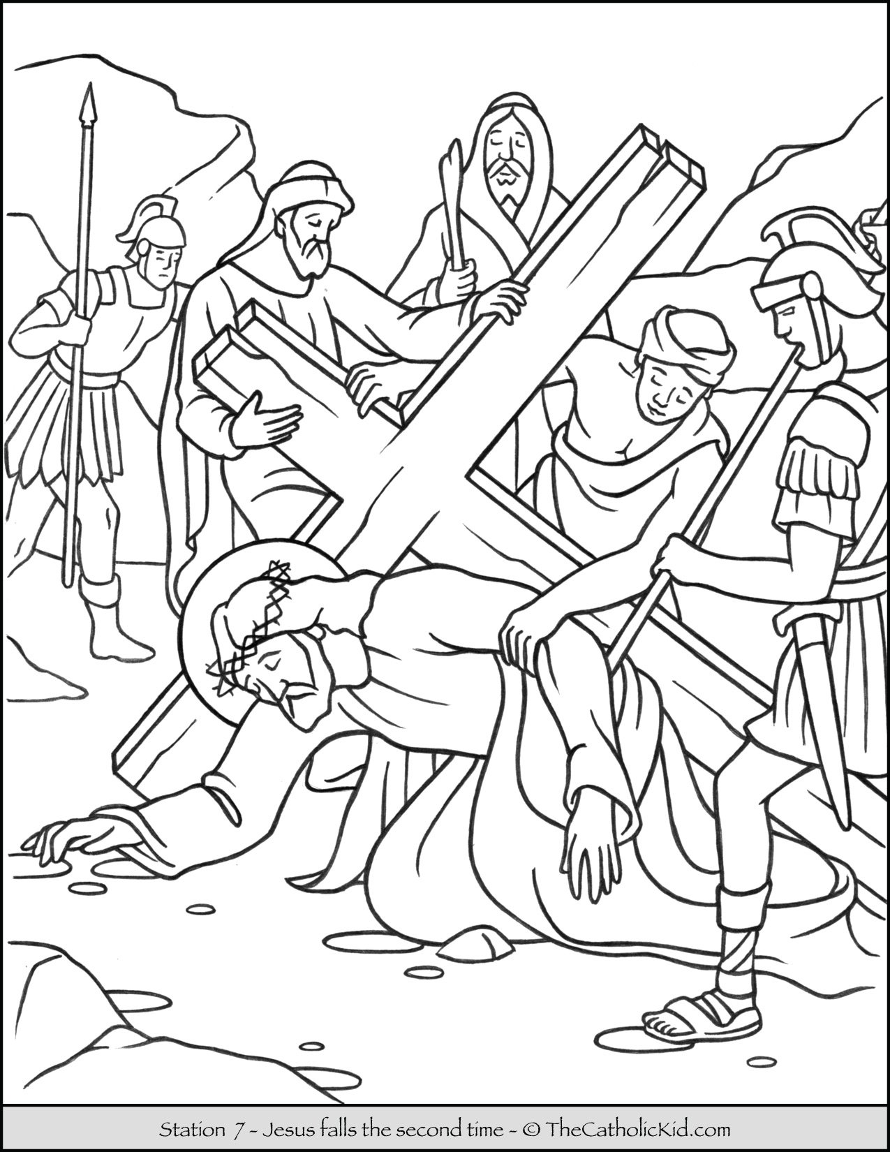 Stations of the Cross Catholic Coloring Pages for Kids 7