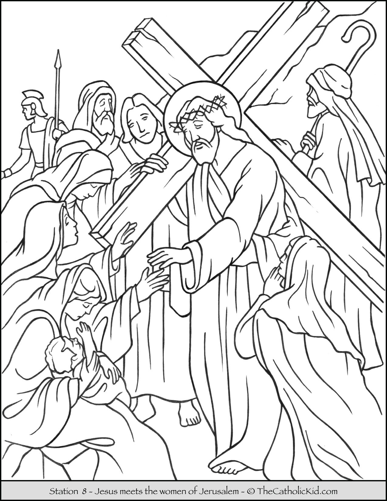 Stations of the Cross Catholic Coloring Pages for Kids 8