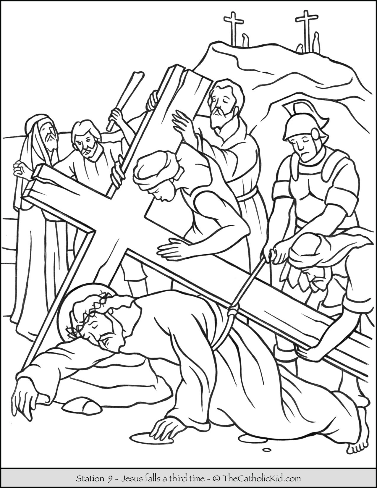 Stations of the Cross Catholic Coloring Pages for Kids 9