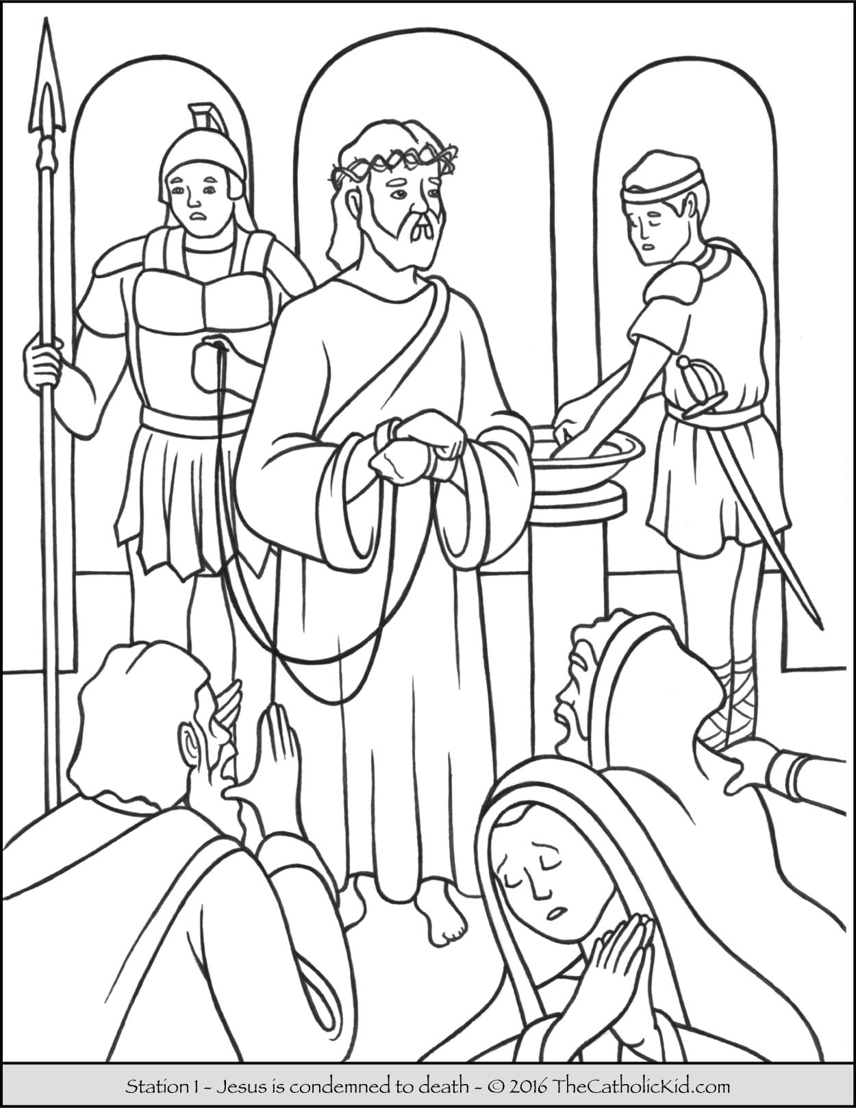 Stations of the Cross Coloring Pages 1 - Jesus is condemned to death