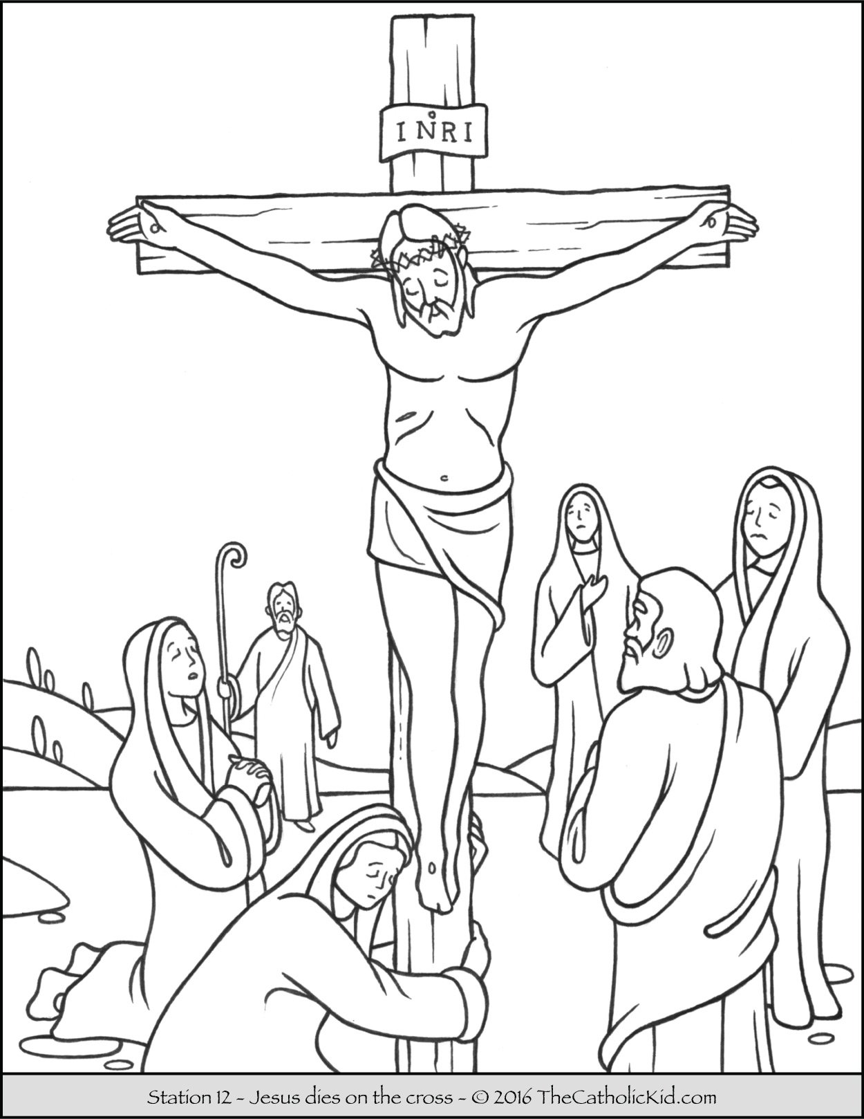 Stations of the Cross Coloring Pages 12 - Jesus dies on the cross