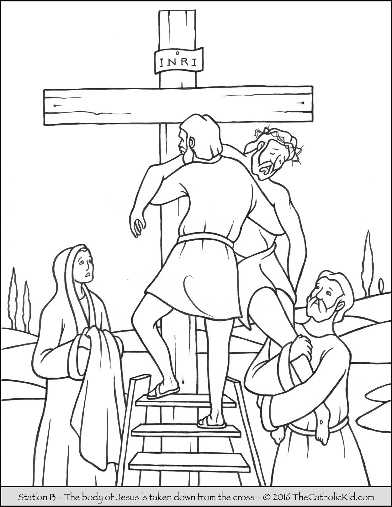 Stations of the Cross Coloring Pages 13 - The body of Jesus is taken down from the cross