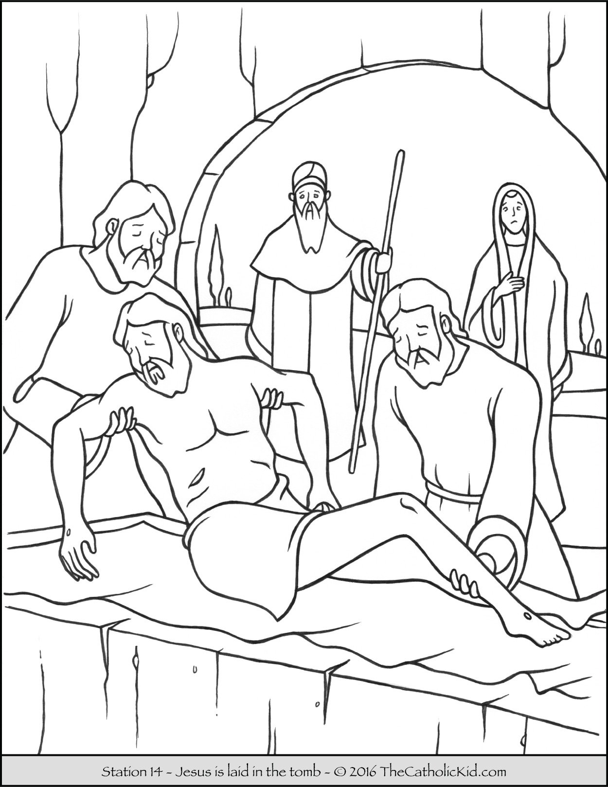 Stations of the Cross Coloring Pages 14 - Jesus is laid in the tomb