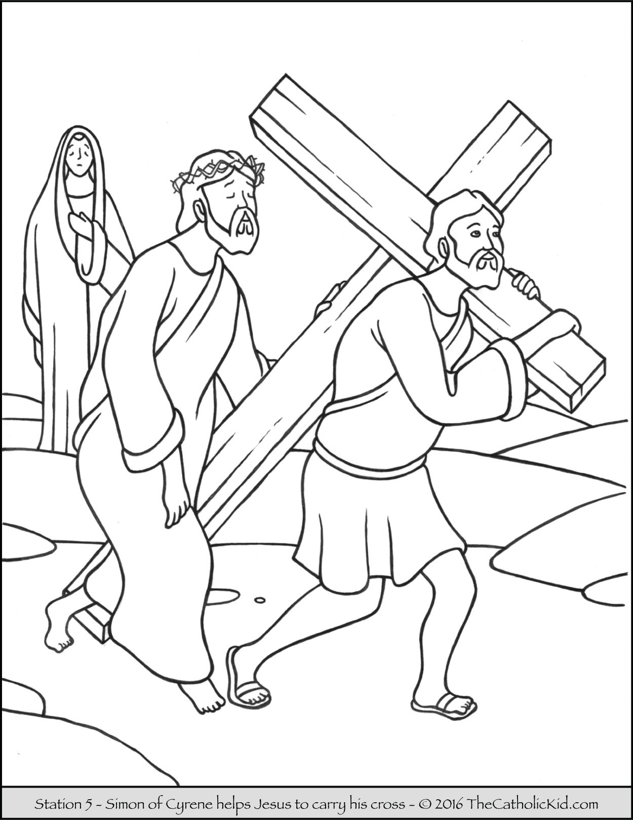Stations of the Cross Coloring Pages 5 - Simon of Cyrene helps Jesus to carry His cross