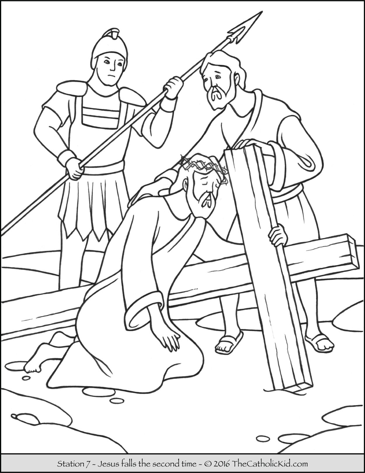 Stations of the Cross Coloring Pages 7 - Jesus Falls the Second Time