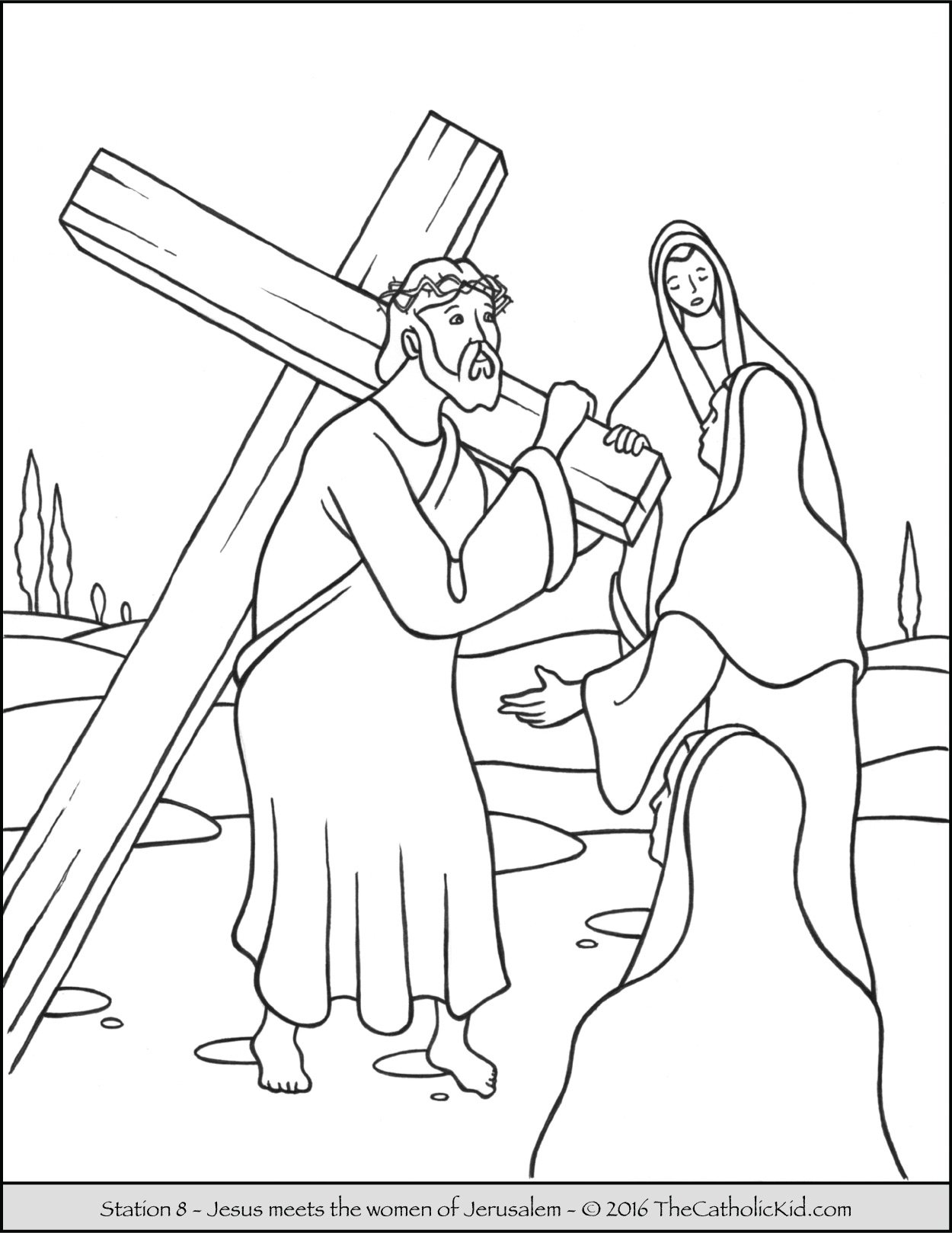 Stations of the Cross Coloring Pages 8 - Jesus Meets the Women of Jerusalem