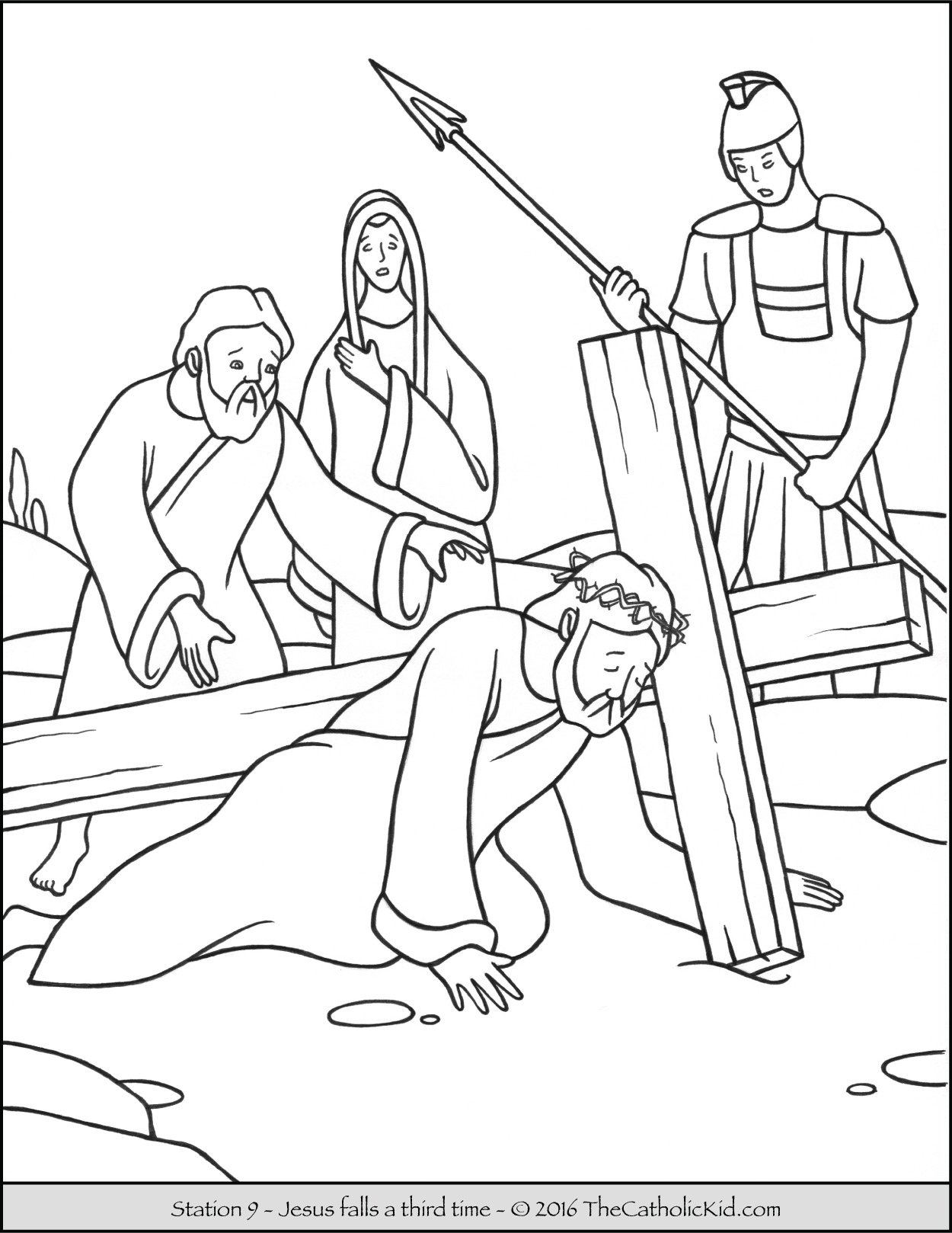 Stations of the Cross Coloring Pages 9 - Jesus falls a third time