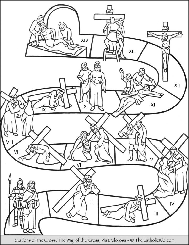 Stations of the Cross for Children Coloring Page