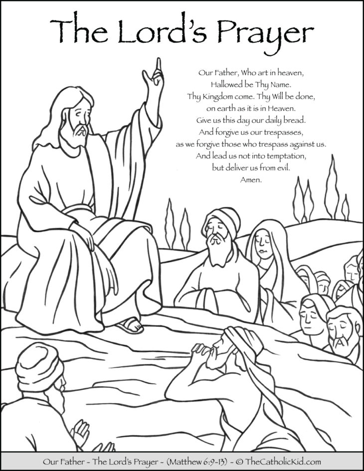 The Lords Prayer Our Father Prayer Coloring Page