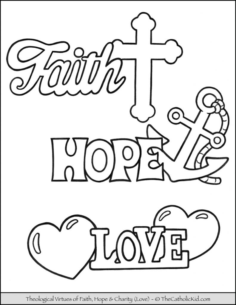 Theological Virtues of Faith, Hope & Love Coloring Page