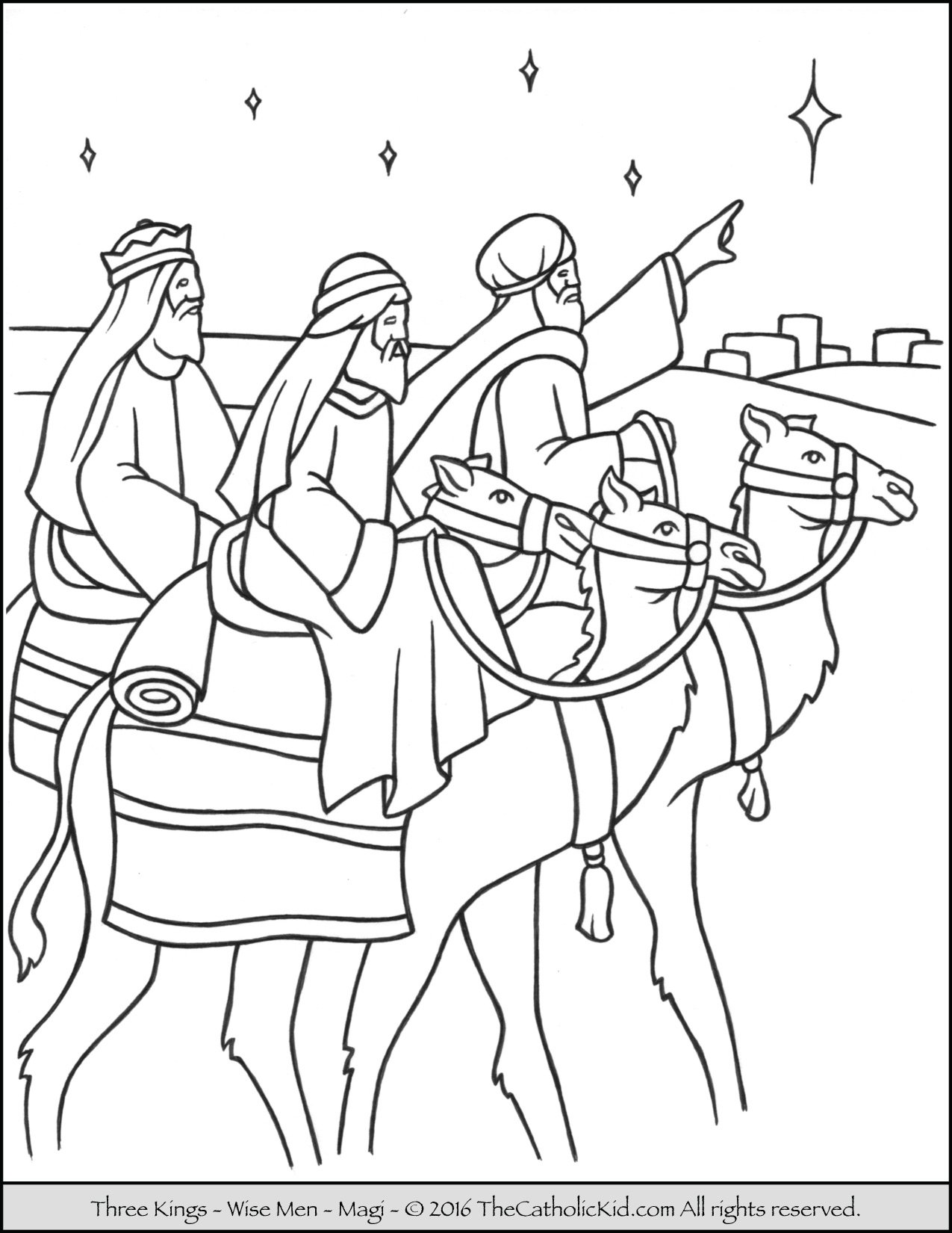 Three Kings Magi Coloring Page