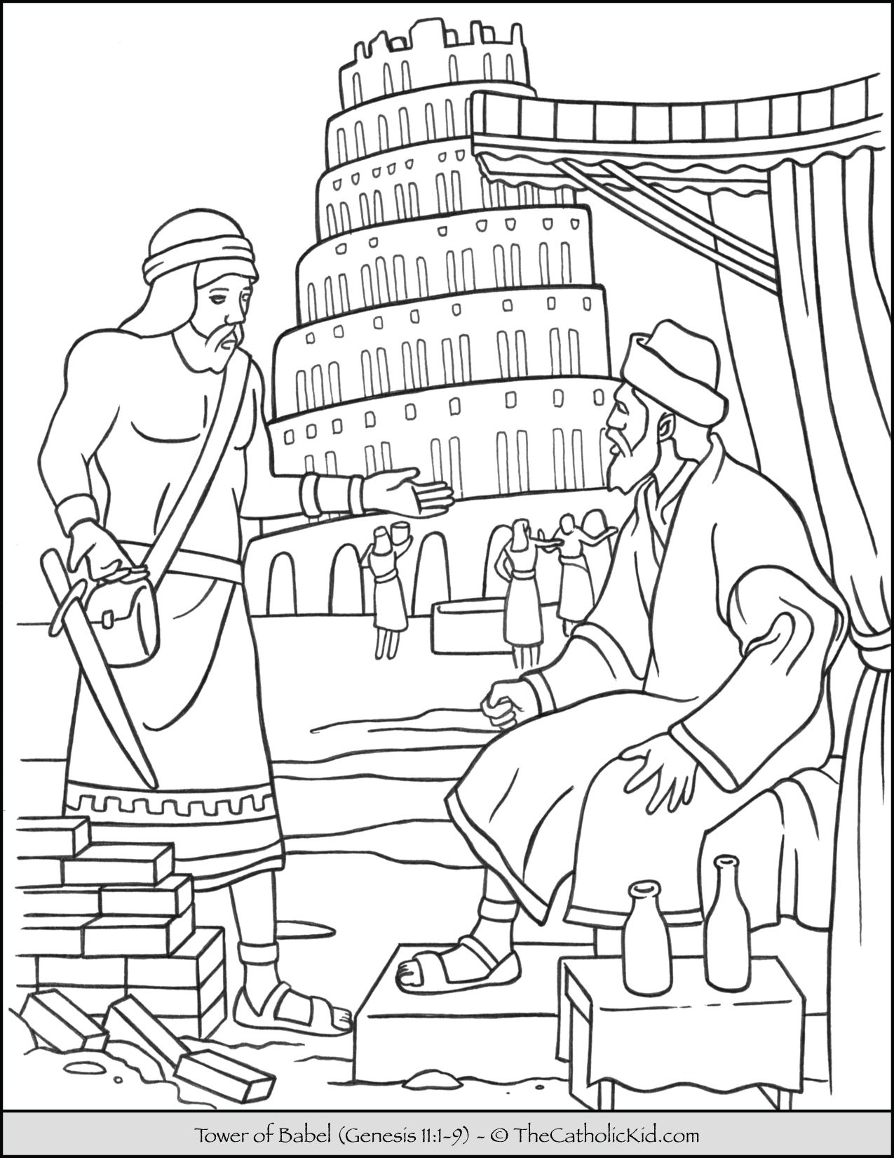 Tower of Babel Bible Coloring Page