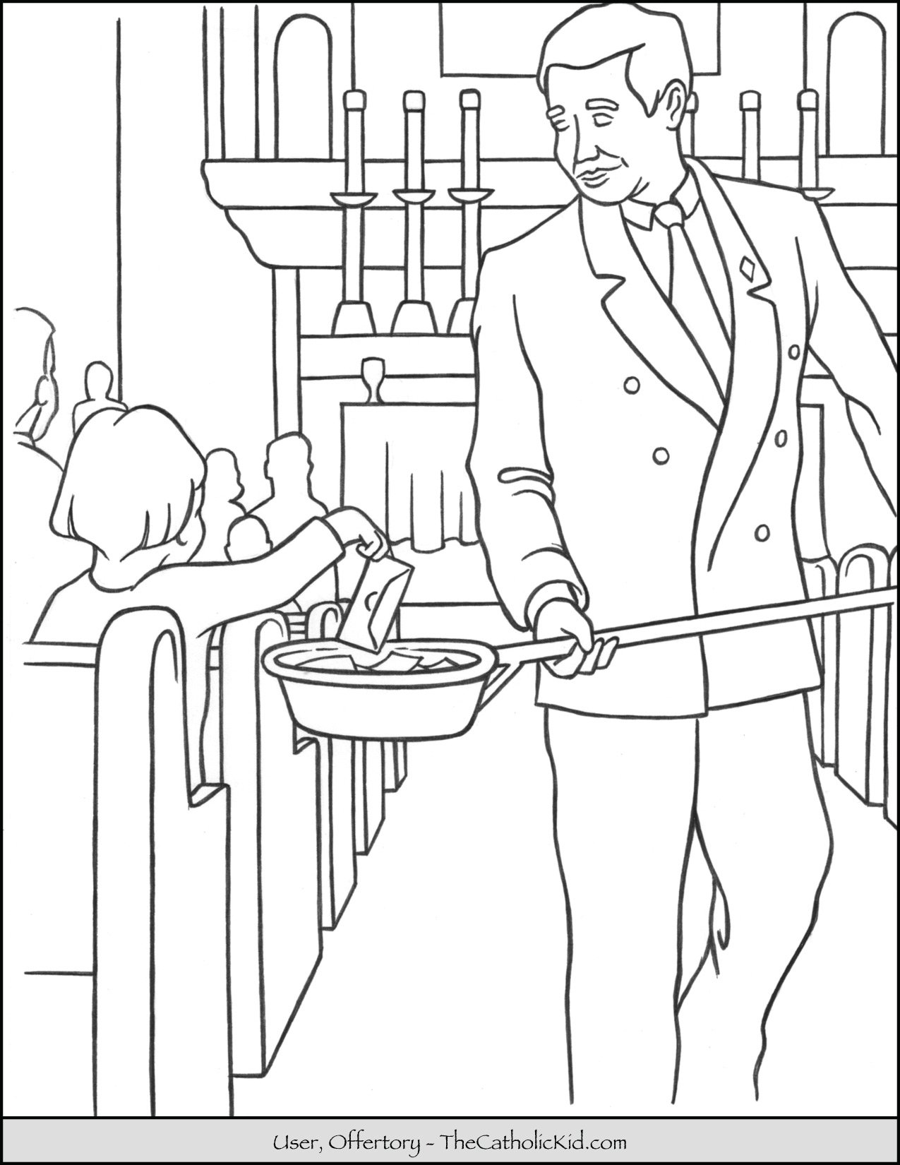 Usher Offertory Collection Coloring Page