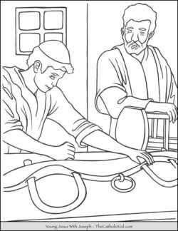 Young Jesus With Joseph Coloring Page